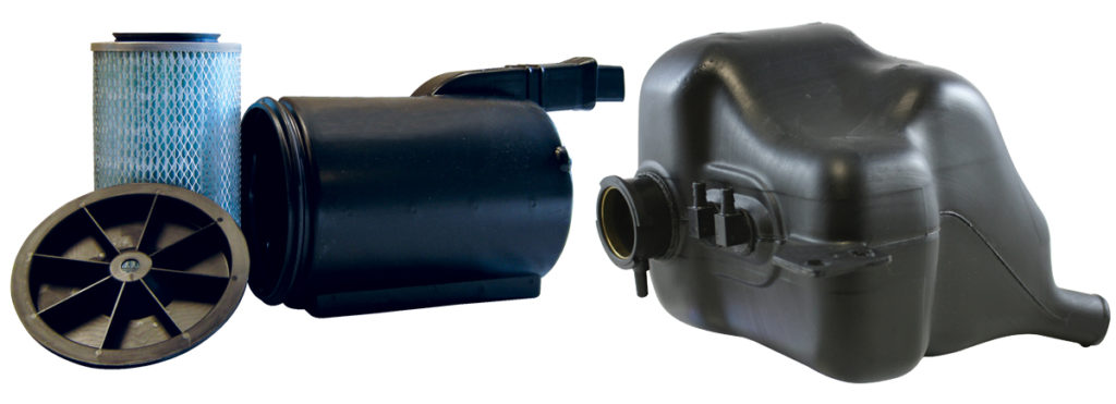 Examples of custom injection and blow molded parts for agricultural equipment