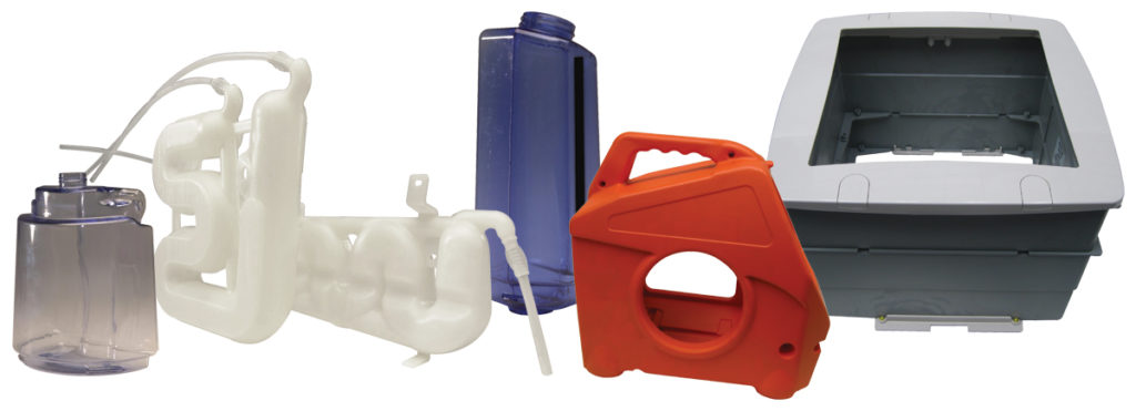 Examples of injection and blow molded products for the Appliance Industry