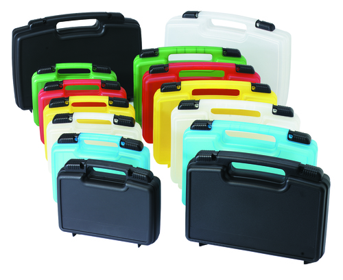 Injection molded cases in a variety of colors